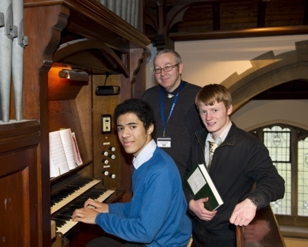 Francis Goodburn, Nigel Beetles (Assistant Head Teacher and Head of Performing Arts) and Peter Thomson.