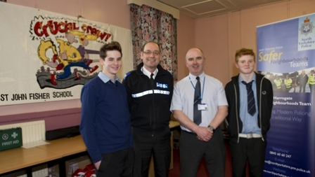 St John Fisher pupil Tom Meyer, PCSO Mark Emsley, Paul Stephenson, and Michael Lishman (St John Fisher)