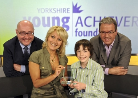 Peter McCormick, former winners Malandra Burrows and George Stocker and Yorkshire Young Achievers Foundation trustee and ITV Yorkshire Calendar presenter Duncan Wood