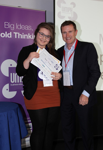 Rachel Gillbanks from Rossett School, Harrogate with Huddersfield Town Football Club chair, Dean Hoyle