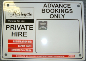 Licensed Private Hire Vehicles - number plate sign