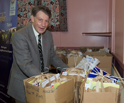 Alan Drinkall helping with goody bags for the children