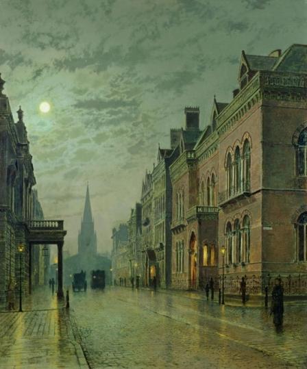 Park Row, Leeds, 1882 (oil on canvas) by Grimshaw
